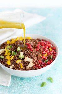 quinoa salad with pomegranate and lemon basil vinaigrette